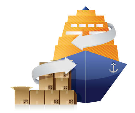 seaport: cargo ship, boxes, and movement arrows illustration design over white