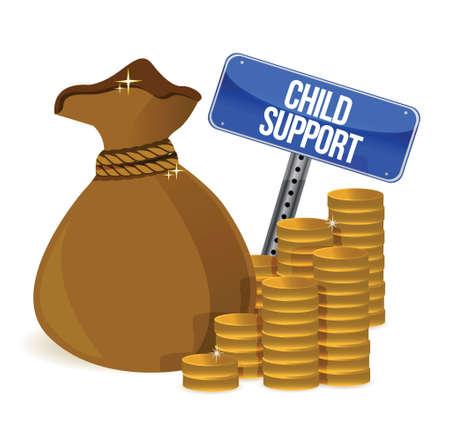Borsa con bambino sostegno segni design illustrazione su bianco
