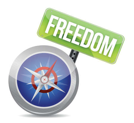 freedom indicated by compass illustration design over white Stock Vector - 17824173