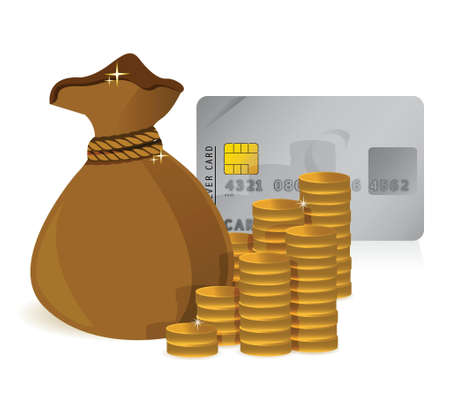 Stacks of coins, money bag and a credit card illustration design Stock Vector - 17824169
