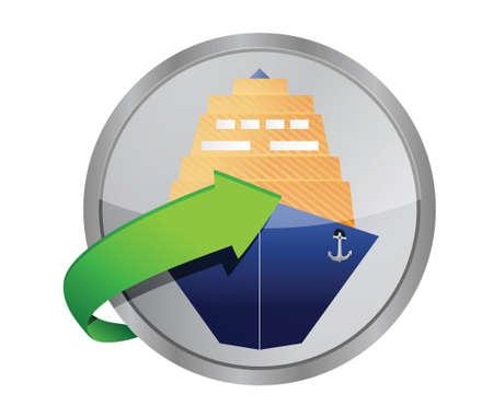 ship cruise button illustration design over a white background Illustration