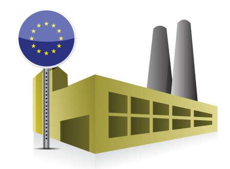 powerplant: Europese industriële fabrieksgebouw en elektriciteitscentrale illustratie ontwerp Stock Illustratie