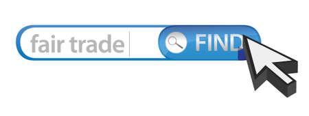 search bar containing a fair trade concept illustration design over white Ilustração