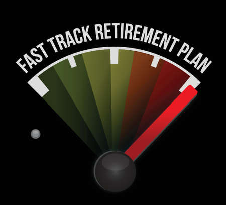 fast track retirement plan meter illustration design over a white background Stock Vector - 17824145