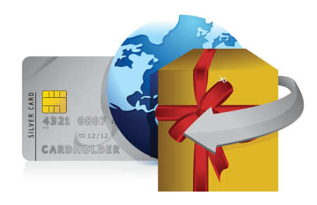 gift, globe and credit card retail concepts illustration design over white Vector