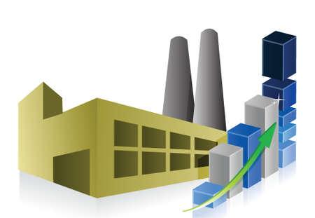 bedrijfshal: zakelijke grafiek, Fabriek, energiecentrale en industrieel gebouw illustratie Stock Illustratie