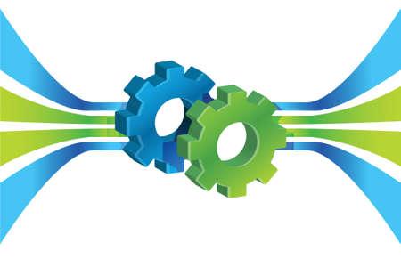 synergy: Engranajes en movimiento y las l�neas, ilustraci�n del concepto de procesos de negocio