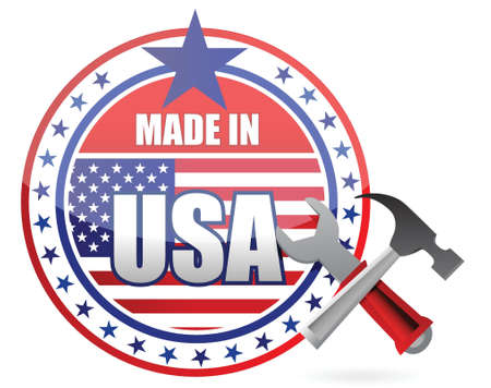made in usa tools button seal illustration design over a white background Vector