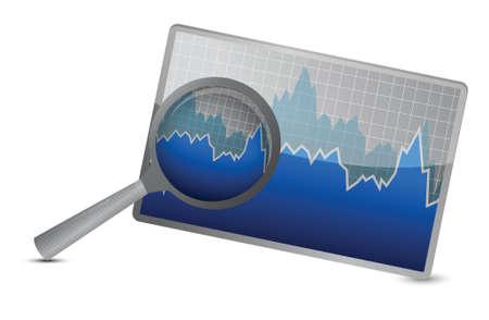 bond: chart or graph stock market under magnify review illustration design