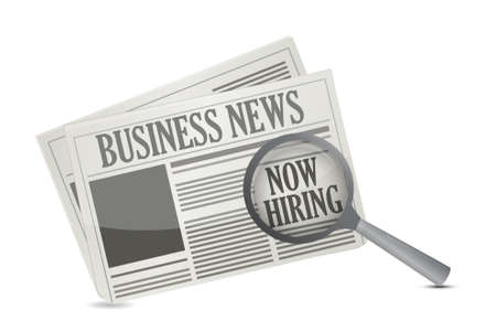 job opportunity: found a job opportunity on a Business Newspaper illustration design over a white background