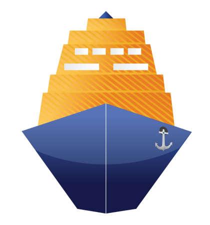 白い背景の上の船イラスト デザインをクルーズします。