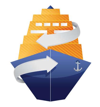 白色の背景上のクルーズ船と矢印イラスト デザイン