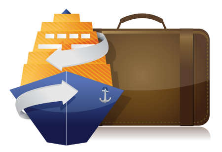 cruise ship and luggage illustration design over a white background