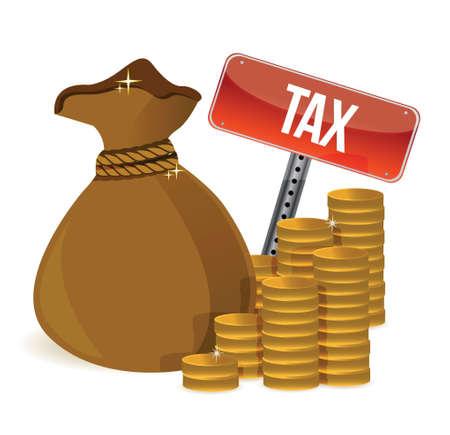 税金でバッグは白でイラスト デザインを標識します。  イラスト・ベクター素材