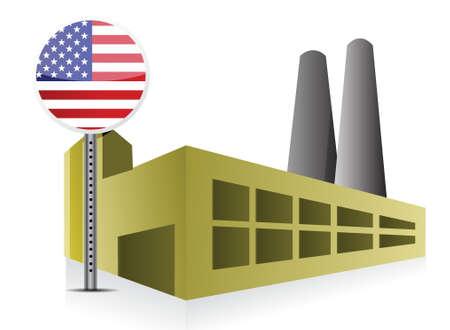 powerplant: Amerikaanse US Industrial fabrieksgebouw en elektriciteitscentrale illustratie ontwerp Stock Illustratie