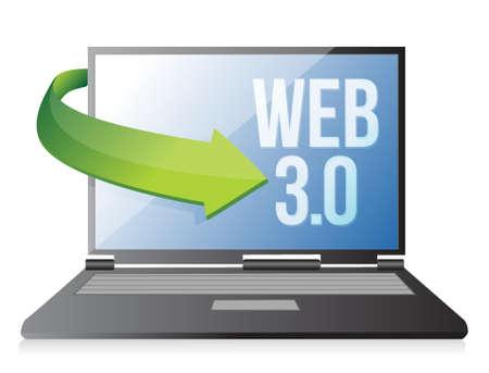 word Web 3.0 on a laptop, seo concept illustration design Stock Vector - 17824133