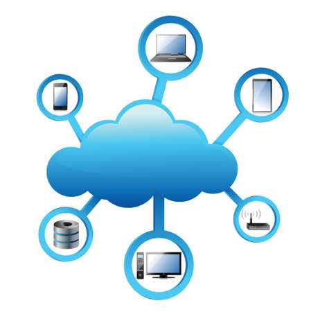 cloud shape: Cloud Computing electronic network Concept illustration design over white