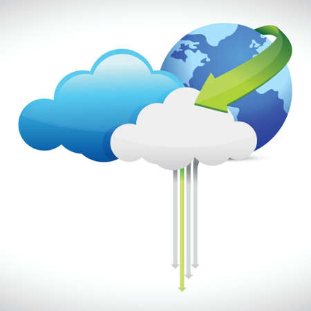 synchronizing: Cloud computing globe and arrows illustration design over a white background