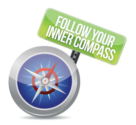 influence: Follow Your Inner Compass success road illustration design over a white background Illustration