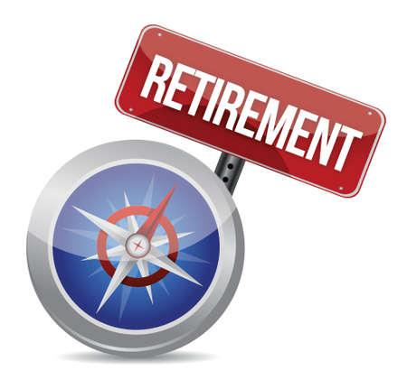 pensioen: Pensioen Plan en kompas, bedrijfs concept illustratie ontwerp op wit