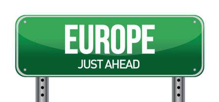 Europe road sign direction illustration design over white