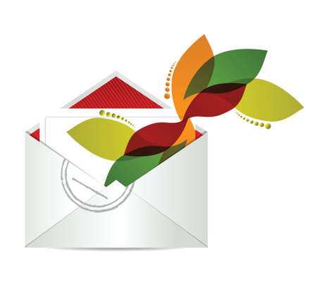 floral design envelope with papers illustration design over white Stock Vector - 17869318