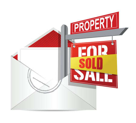 E-mail and real estate sold sign illustration design over white Stock Vector - 17869282