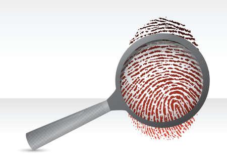 proofs: Detectives magnifier with fingerprint illustration design over white