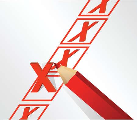 checkboxes: illustration design of x mark over white background