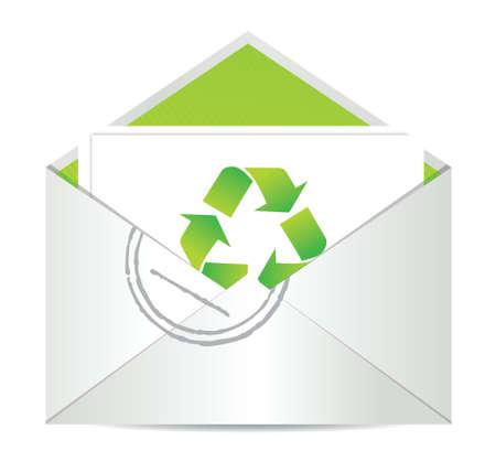 Ecologie envelop met symbool van recycling illustratie ontwerp