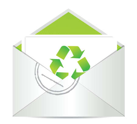 office environment: Ecology envelope with symbol of recycling illustration design