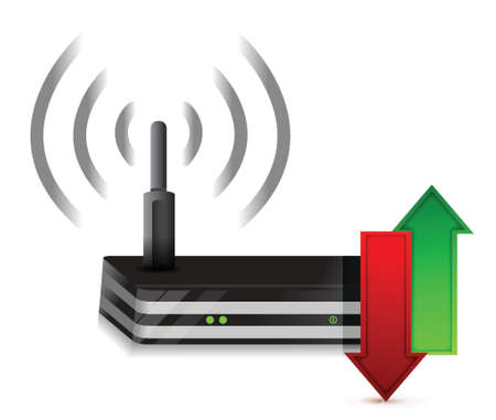up and down arrows Wireless Router Isolated on White Illustration