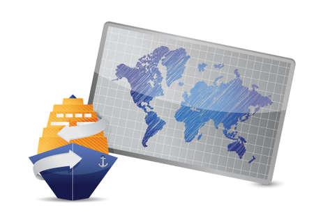 白い背景の下海クルーズと世界地図