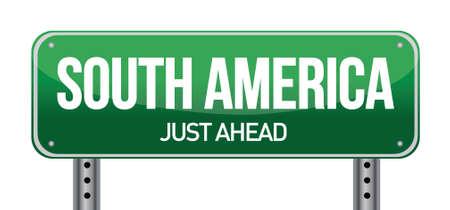 南アメリカのイラスト デザイン、白い背景の上に道路標識