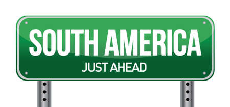 paraguay: road sign to south america illustration design over a white background