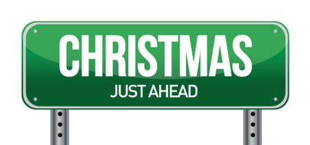 Christmas Road Sign illustration design over a white background Ilustração