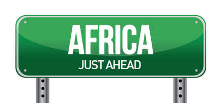 Africa traffic road sign illustration design over a white background Vettoriali