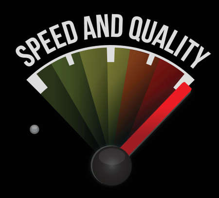 dashboard: speed and quality speedometer illustration design over a white background