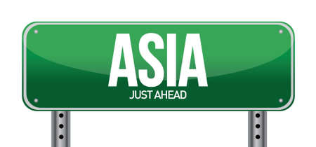 asia traffic road sign illustration design over a white background