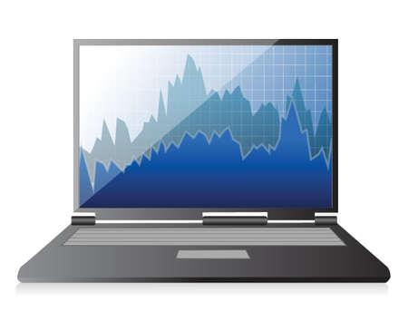 Modern digital computer with stock market application illustration Stock Vector - 17872065