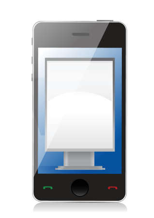 popup: Marketing concept ad stand on phone illustration design over white