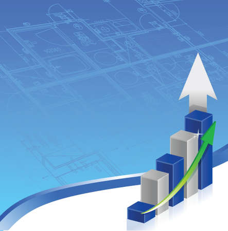 increase diagram: Business graph print illustration design over a white background Illustration