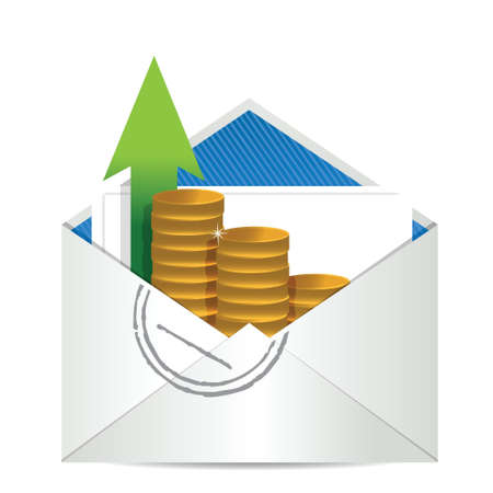 rebate: envelope with coins illustration design over a white background