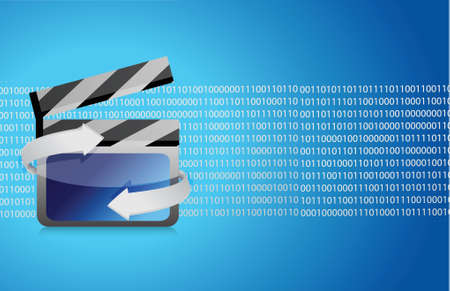 Film clap board cinema binary illustration design background