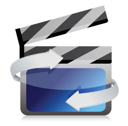 clap board: Pel�cula aplaudir bordo cine en el dise�o de la ilustraci�n movimiento sobre blanco