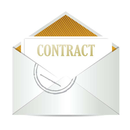 signing papers: contract inside mailing envelope illustration design over white