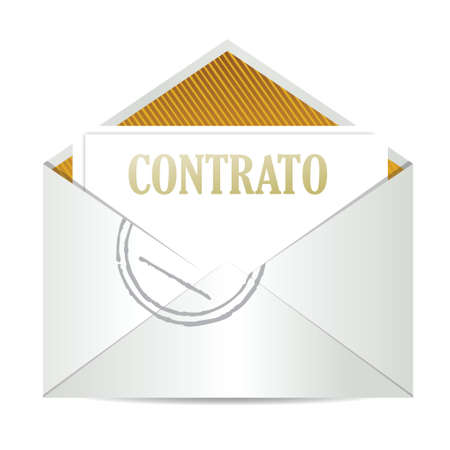 signing papers: spanish contract inside mailing envelope illustration design over white