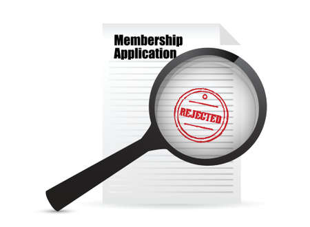 rejected: membership application rejected and magnifier over white Illustration