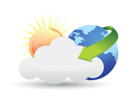 Globes clouds and sun illustration design over white Vector