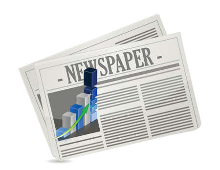 chronicle: business newspaper graph illustration design over a white background